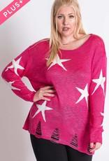 Oleanders Boutique Fuchsia Star Sweater