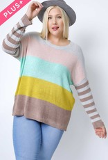 Oleanders Boutique Colorblock with Stripe Sleeve
