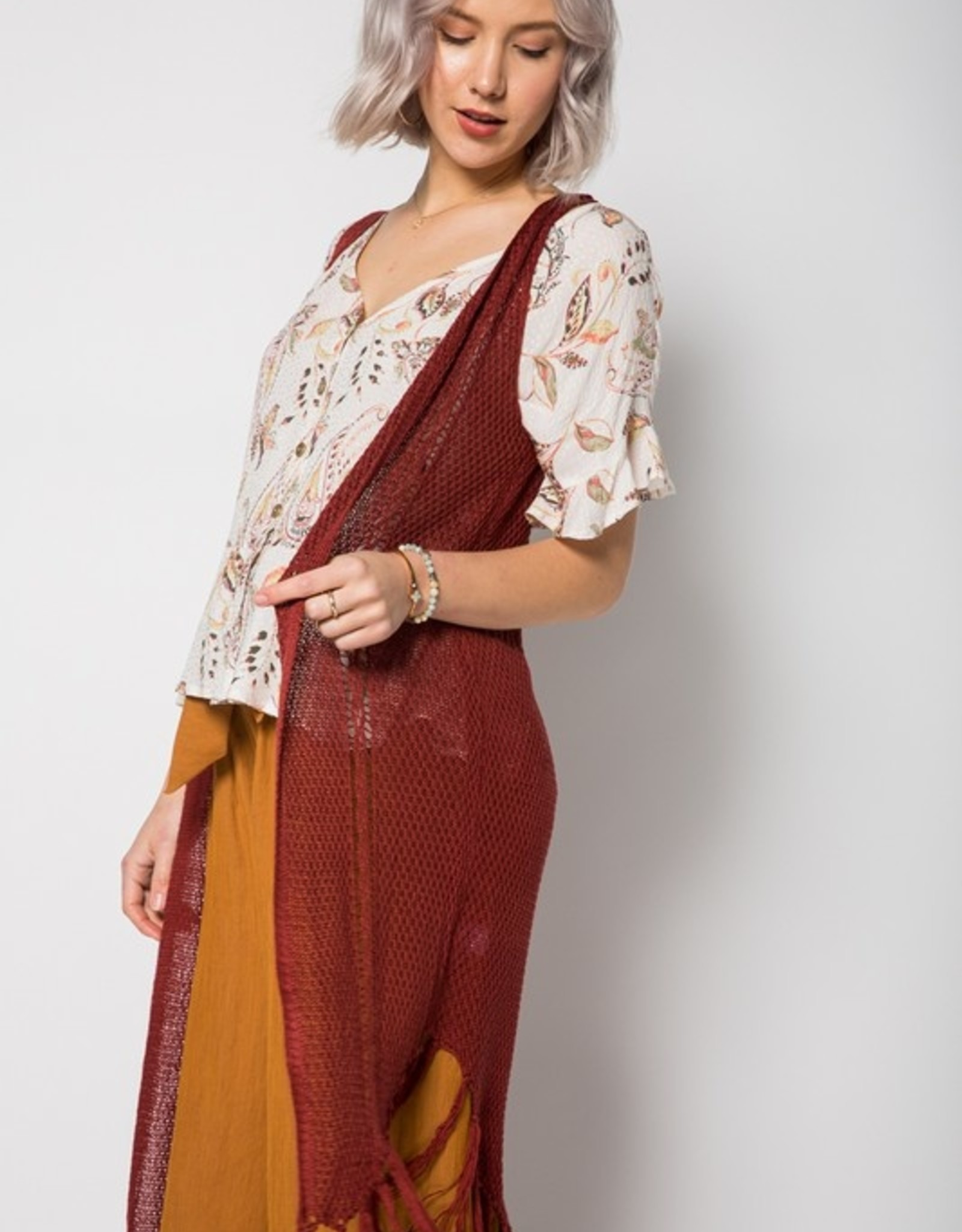 Oleanders Boutique Mahogany Fringe Duster