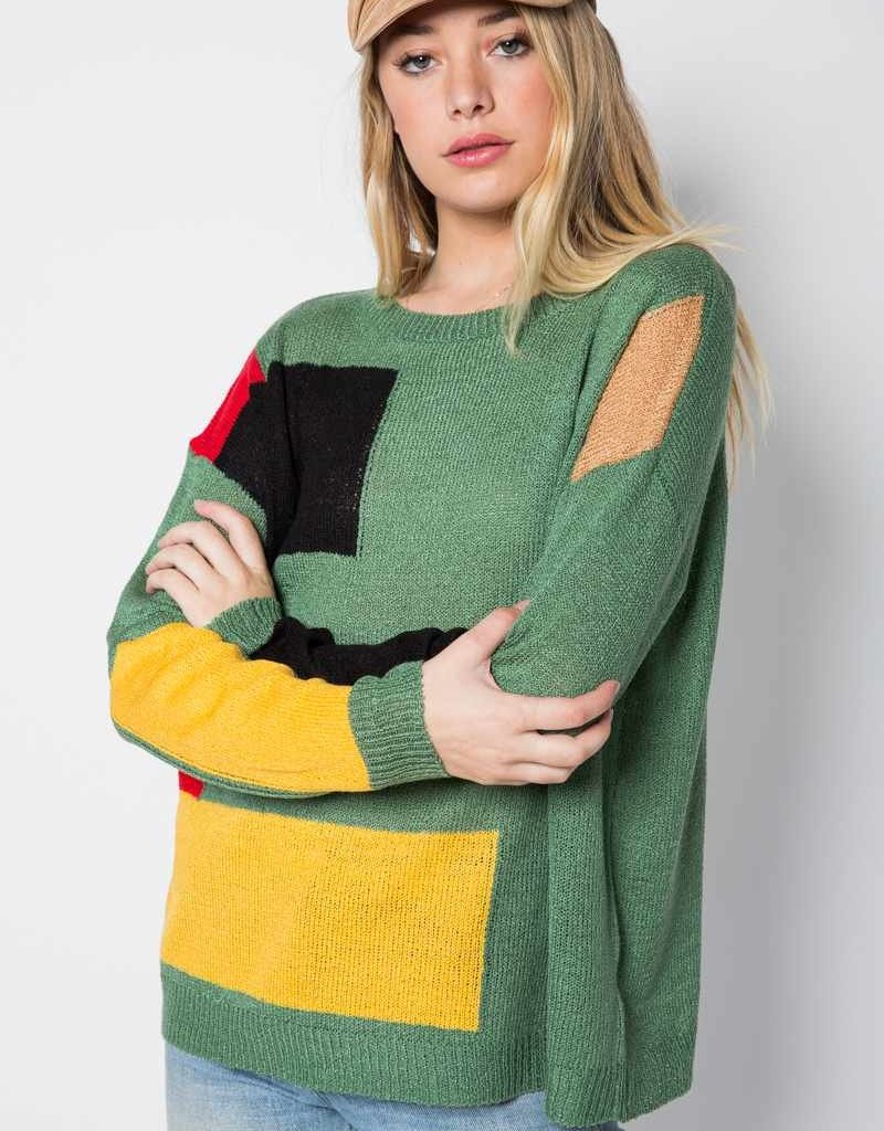 Oleanders Boutique Green with Color Blocks