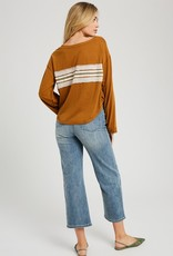 Oleanders Boutique Long Sleeve with Raw Edge Stripe