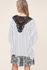 Oleanders Boutique Black & White Kimono w/ Crochet