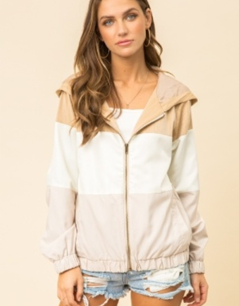 Oleanders Boutique Color block jacket with hood