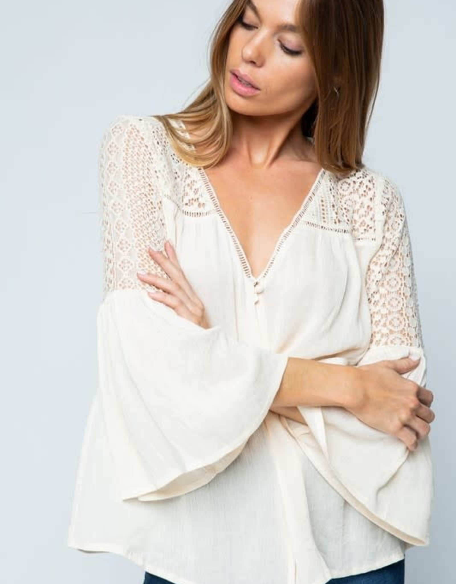 Oleanders Boutique Lace trim bell sleeve boho top