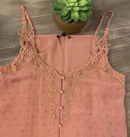 Oleanders Boutique Peach Cami with Crocheted Detail