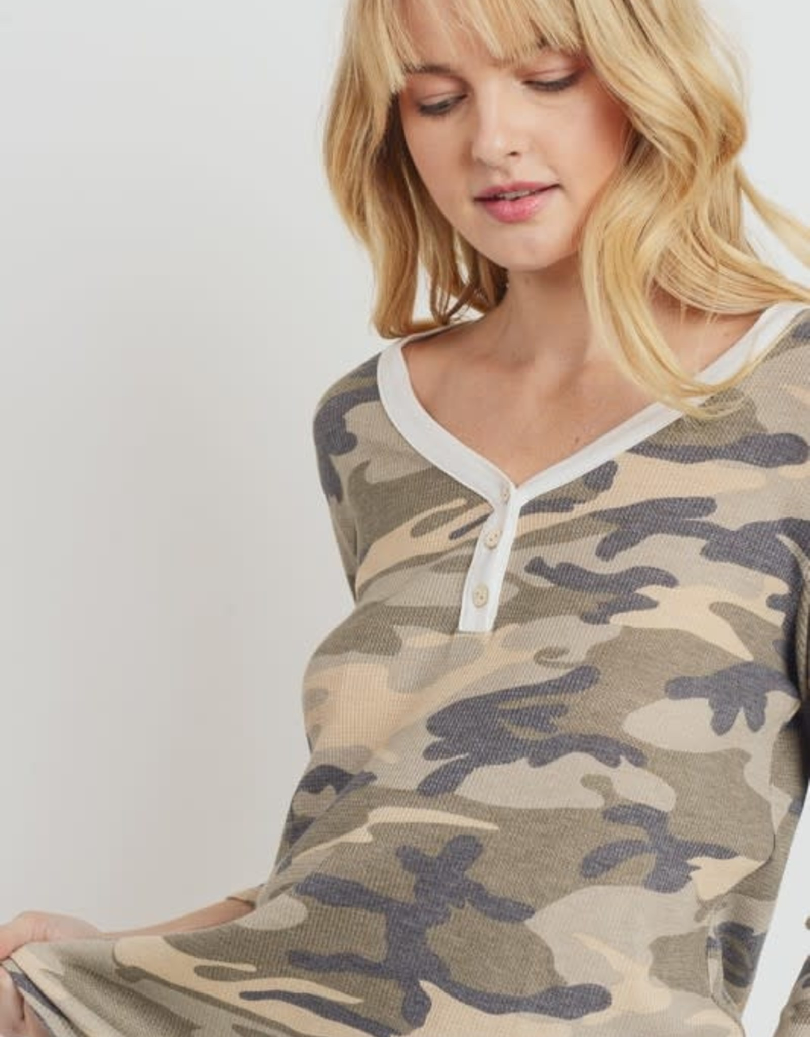 Oleanders Boutique 3/4 Sleeve Camo