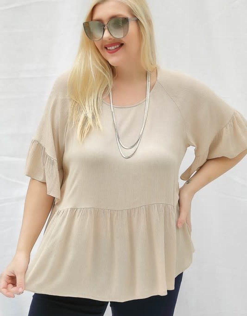Oleanders Boutique Tan Ruffle Top