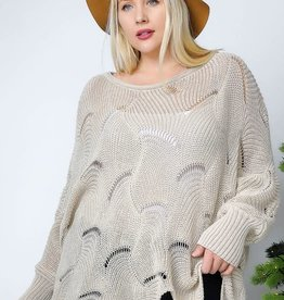 Oleanders Boutique Scalloped Knit Top