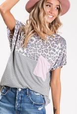 Oleanders Boutique Leopard Block with Pink Pocket