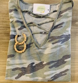 Oleanders Boutique Army criss cross top