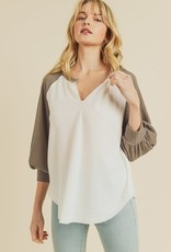 Oleanders Boutique V neck basball waffle knit