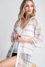 Oleanders Boutique striped long open cardigan