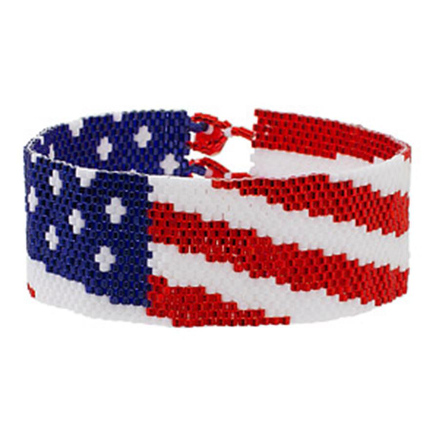 Classes 7/21 6-9pm - Spangled Banner Bracelet Instruction - Linda Fabbro