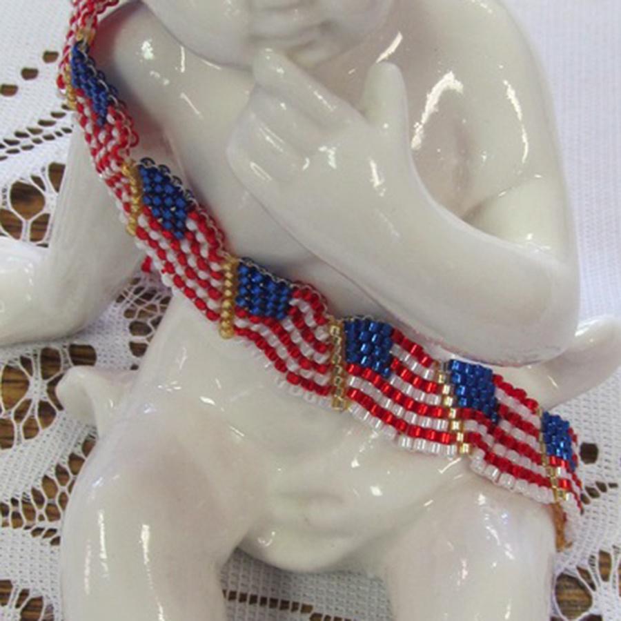 Wavy Flag Bracelet - Seed Beads