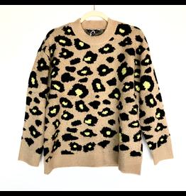 flight lux velvet heart crew animal print sweater