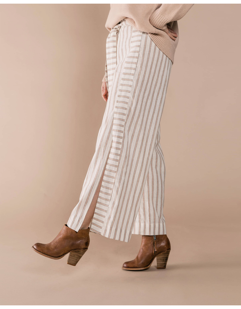 rylee cru rylee + cru womens truffle stripe wide leg pant