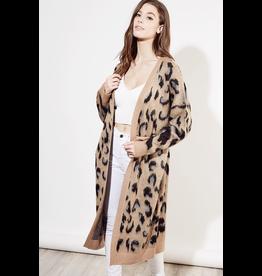 flight lux leopard midi cardigan