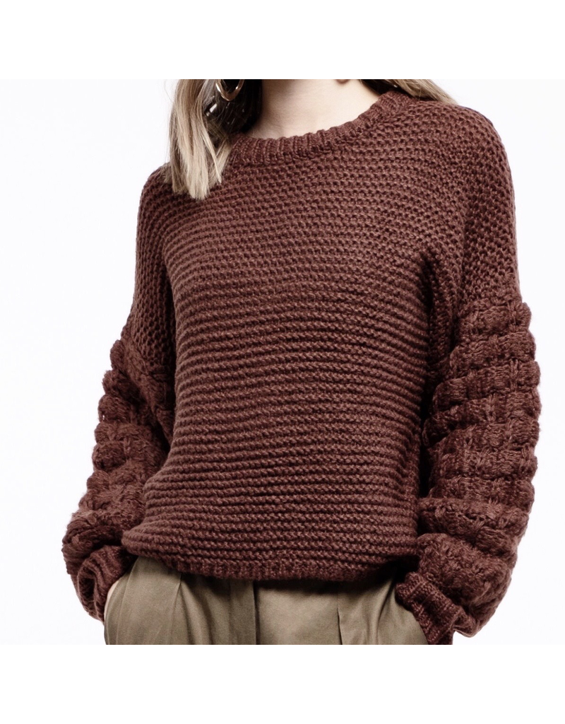 j.o.a. j.o.a. pom pom sleeve sweater