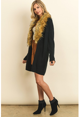 flight lux faux fur collar cardigan