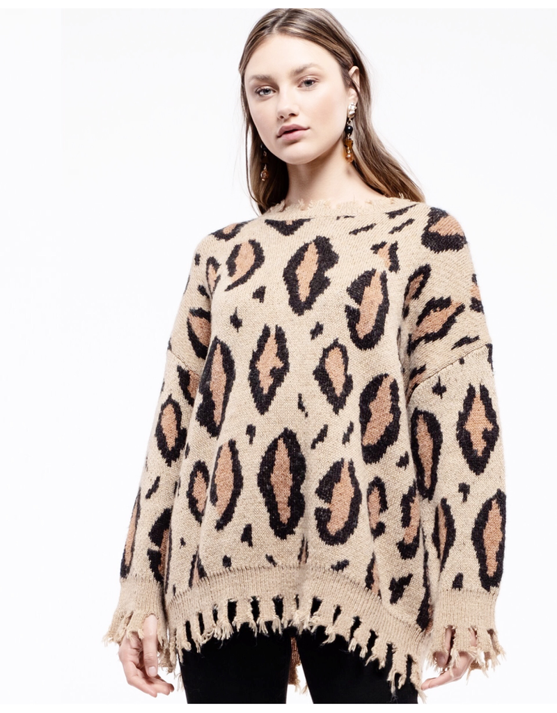 moon river moon river leopard sweater