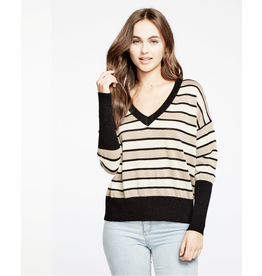 chaser chaser striped lurex pullover