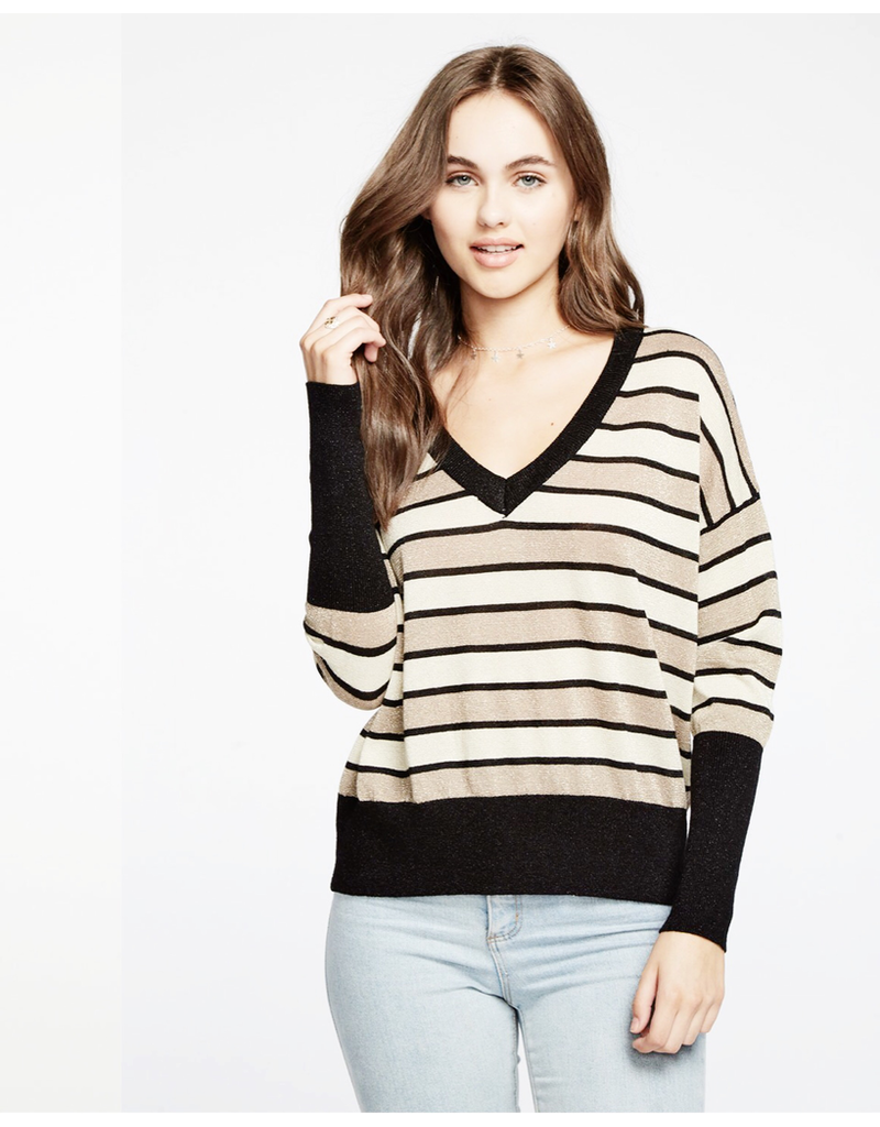 chaser chaser striped lurex pullover
