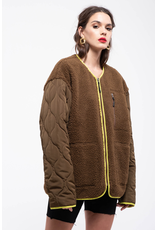 j.o.a. j.o.a teddy fur zip up jacket