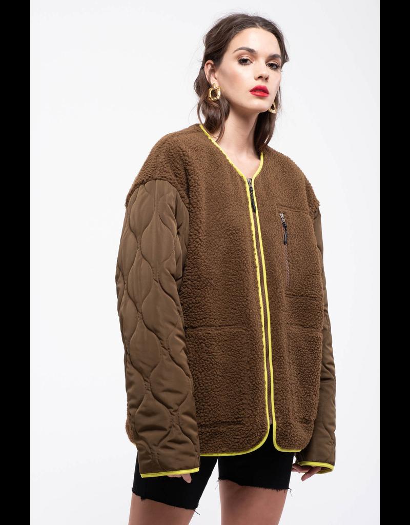 j.o.a. j.o.a teddy fur zip up jacket