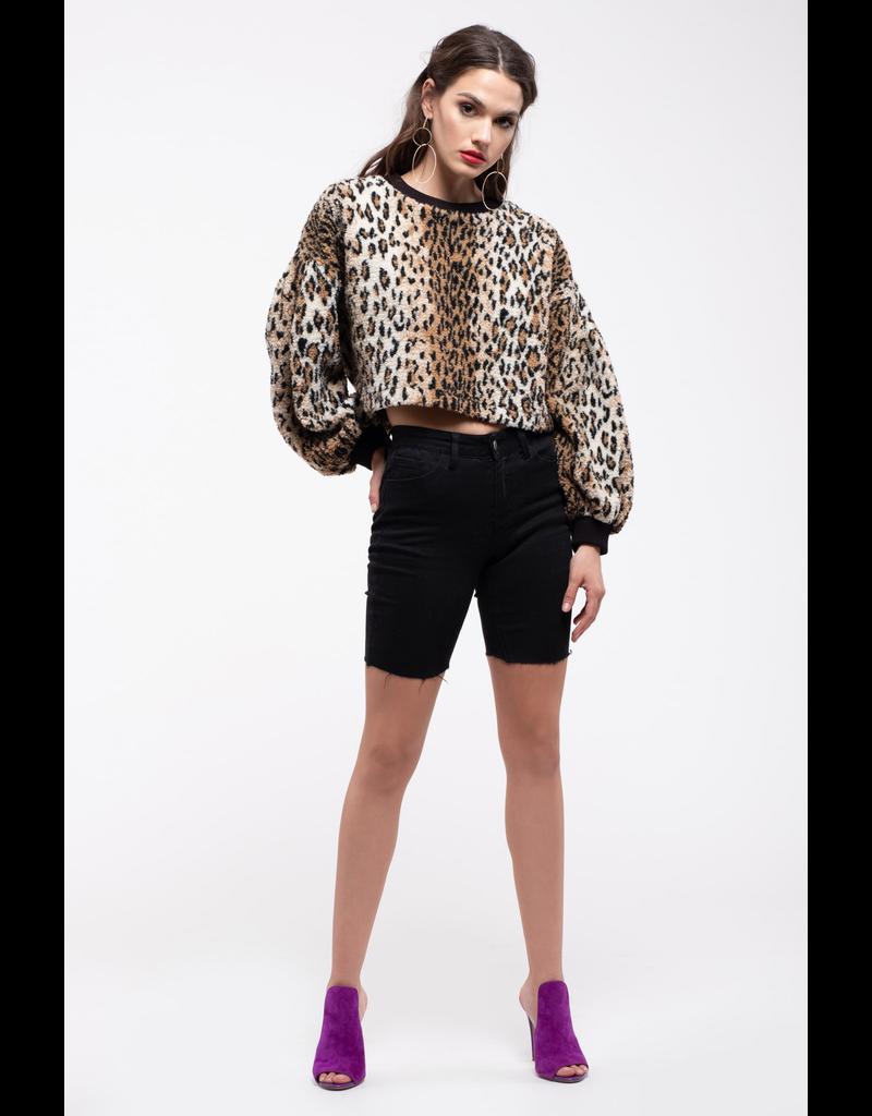 j.o.a. j.o.a leopard puff sleeves fleece