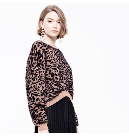 j.o.a. j.o.a leopard crop sweater top
