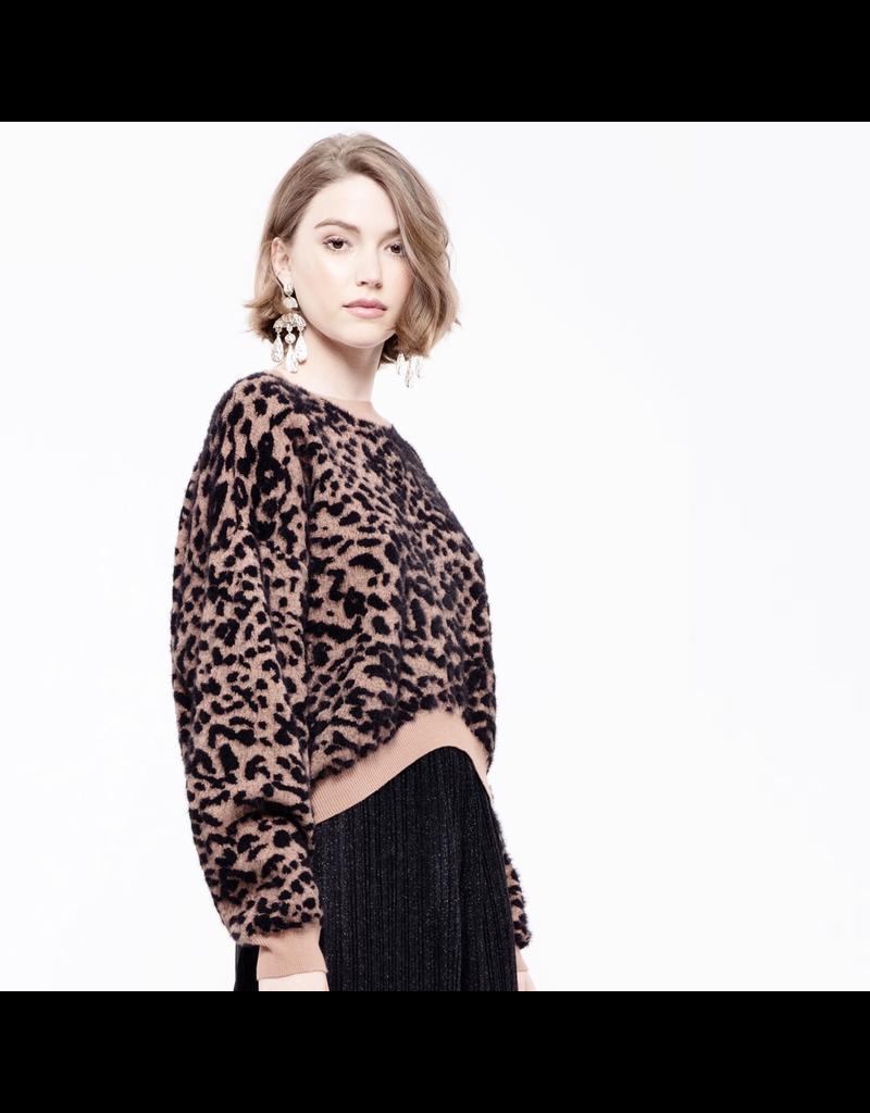 j.o.a. j.o.a leopard crop sweater top