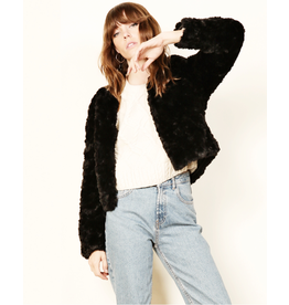 astr line + dot faux fur jacket