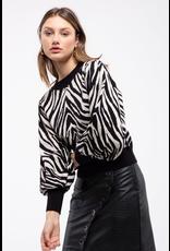 moon river moon river balloon sleeves crop zebra sweater