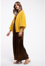 moon river moon river fuzzy buton front cardigan