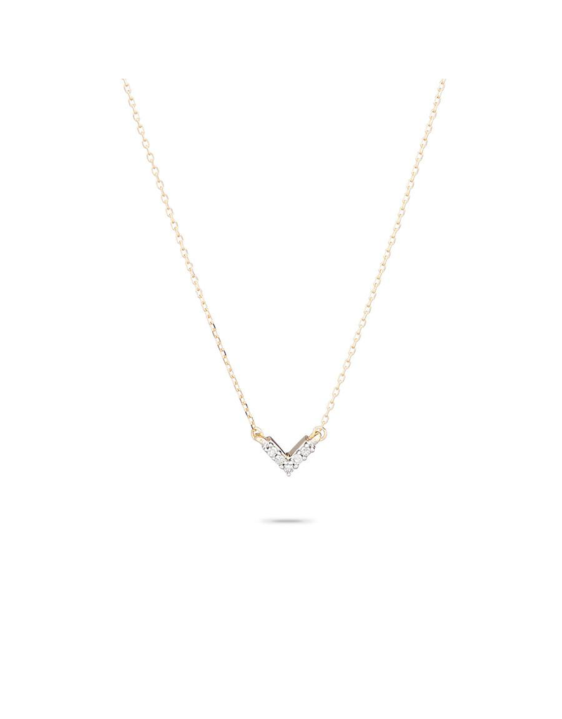 flight lux super tiny pave V necklace