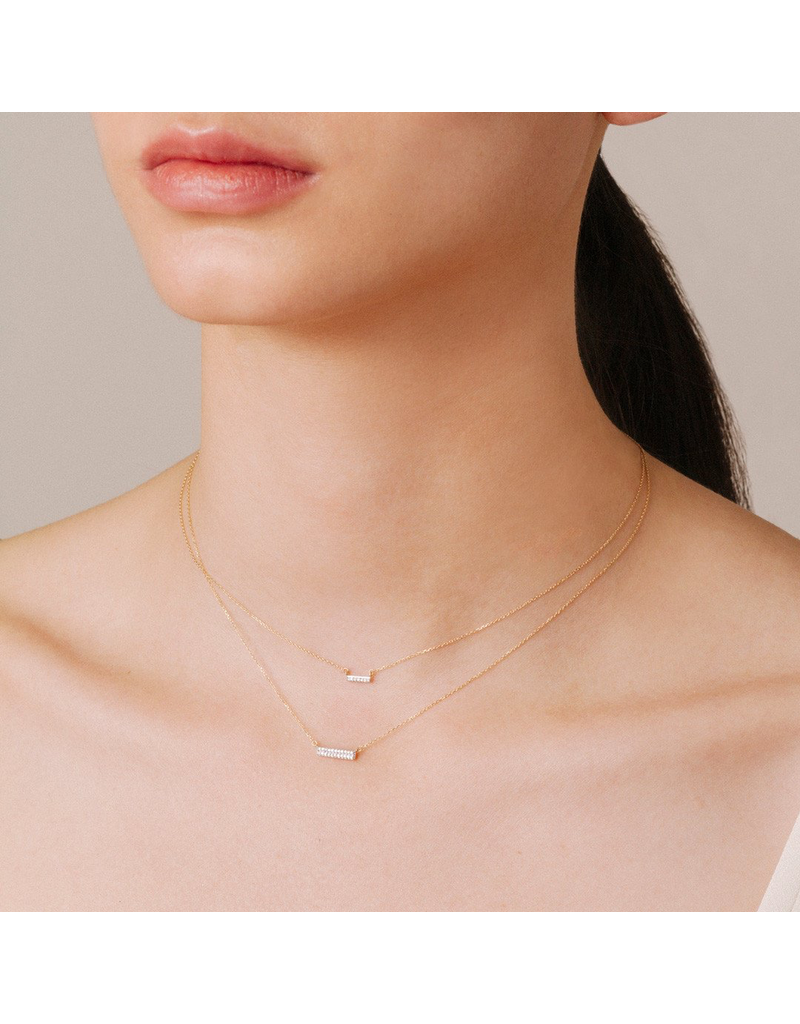 flight lux super tiny pave bar necklace 14k