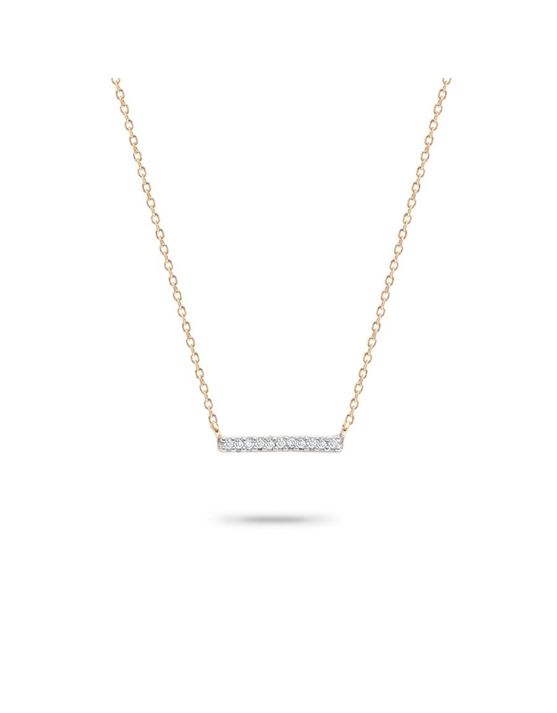 flight lux 14k gold bar necklace