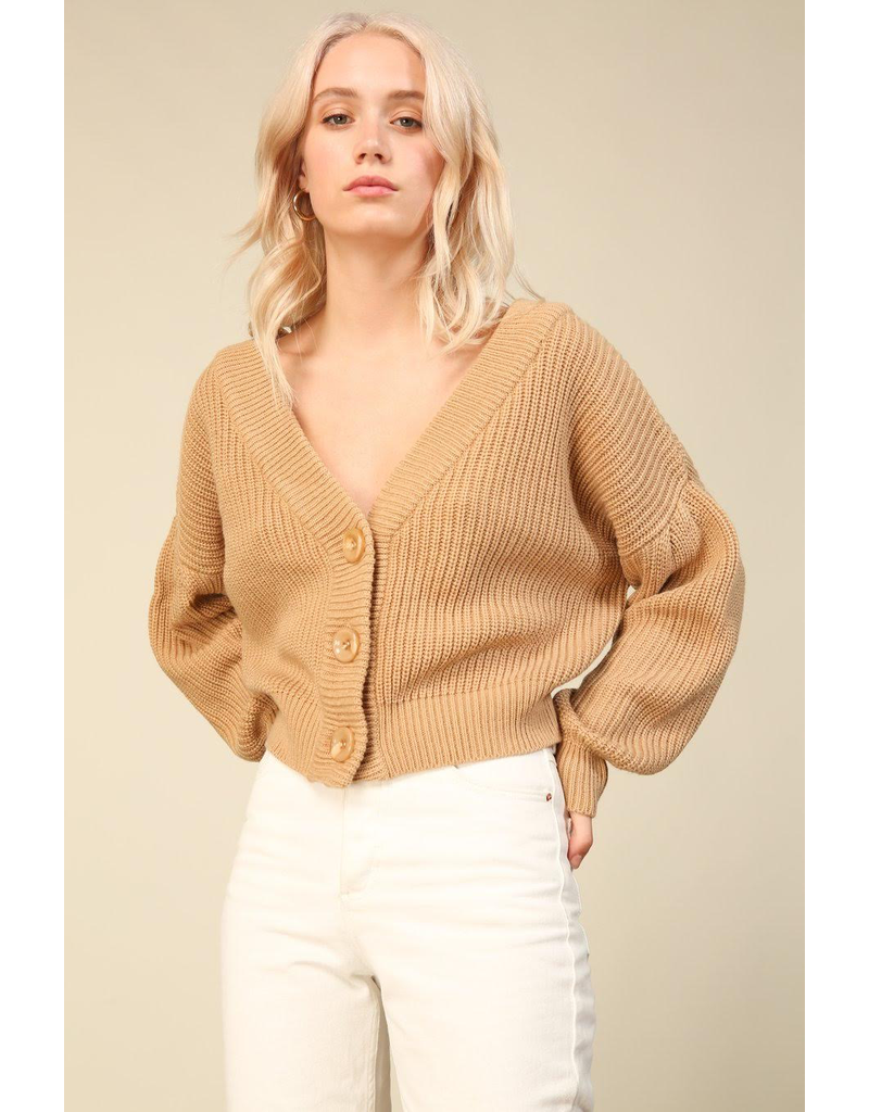 line and dot walnut cardigan