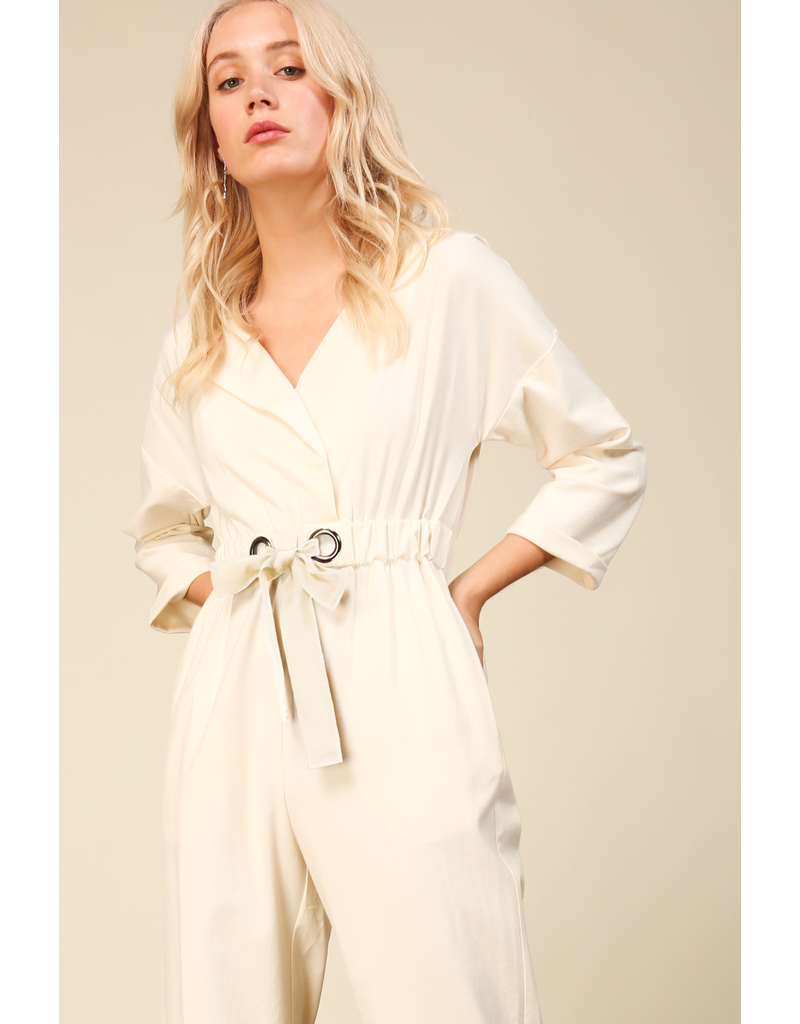 line & dot line + dot everson jumpsuit