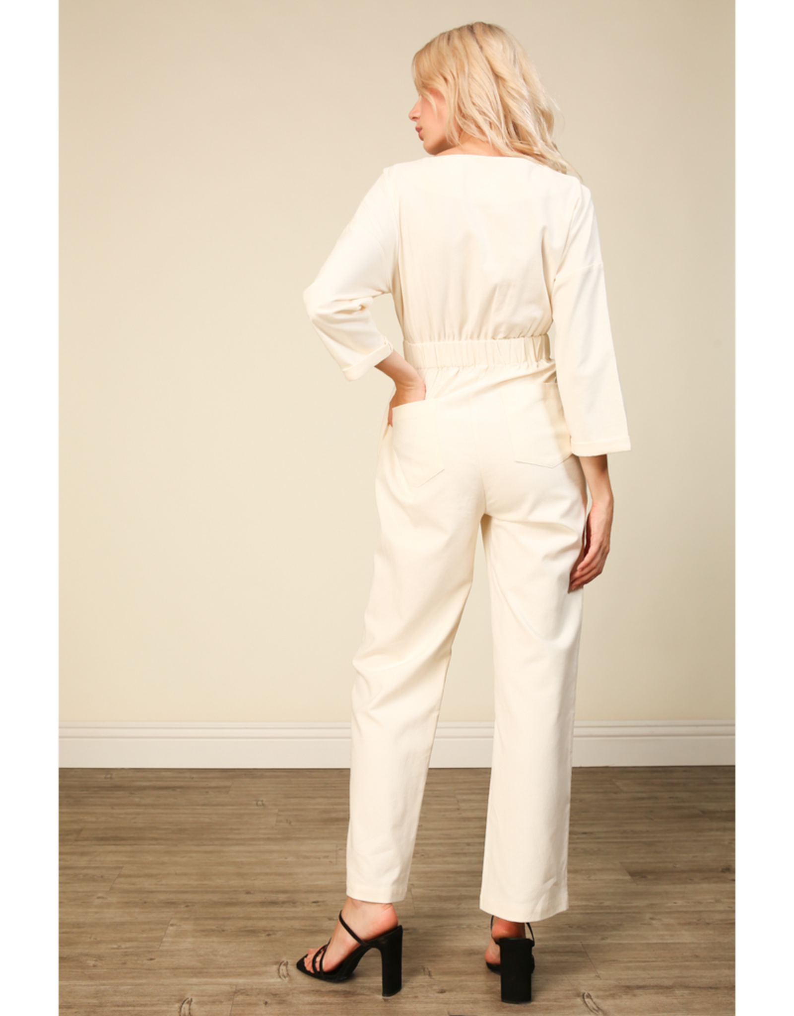line & dot line + dot everson jumpsuit