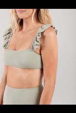 rylee cru rylee + cru womens pique ruffle sleeve bikini top