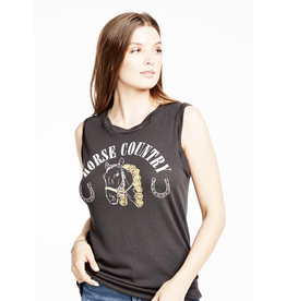 chaser chaser gauzy rolled seamed muscle tank horse country