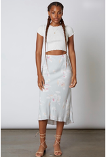 cotton candy slip skirt with floral print