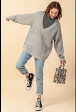 flight lux deep v oversized sweater