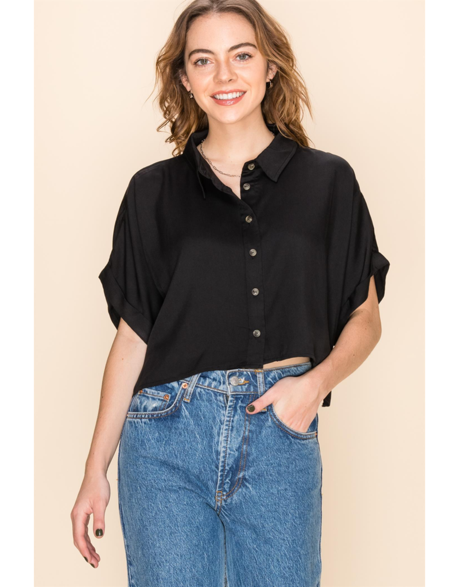 flight lux cropped button up loose shirt