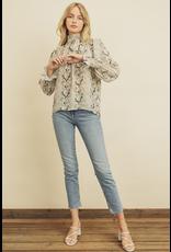 flight lux snakeskin print bow neck blouse