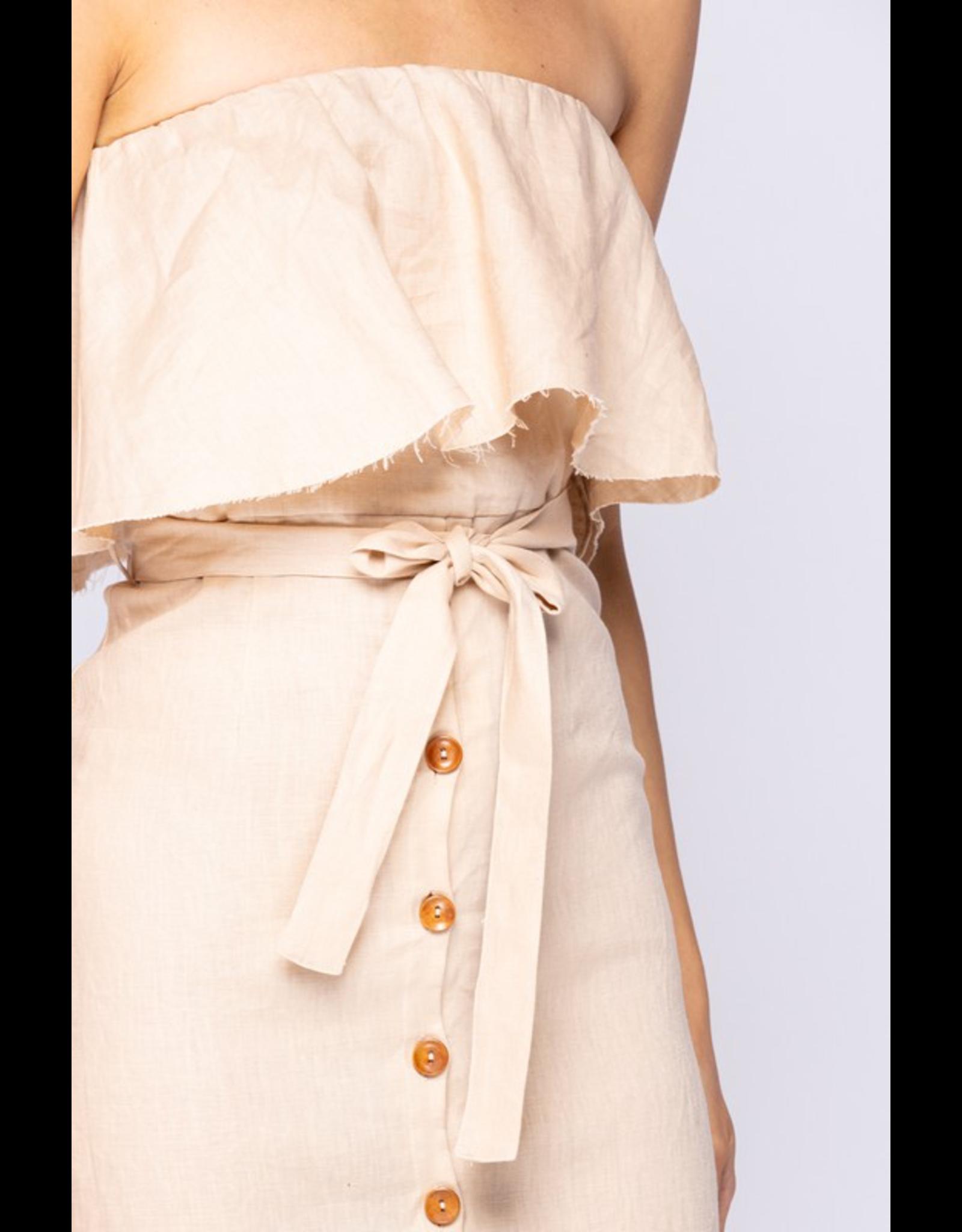 flight lux off-shoulder tube button down midi dress