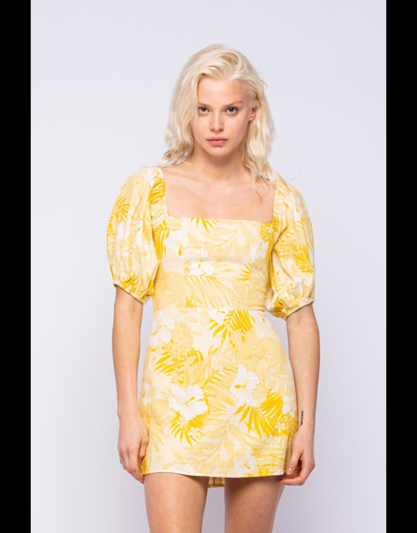 flight lux hawaii print puff sleeve dress