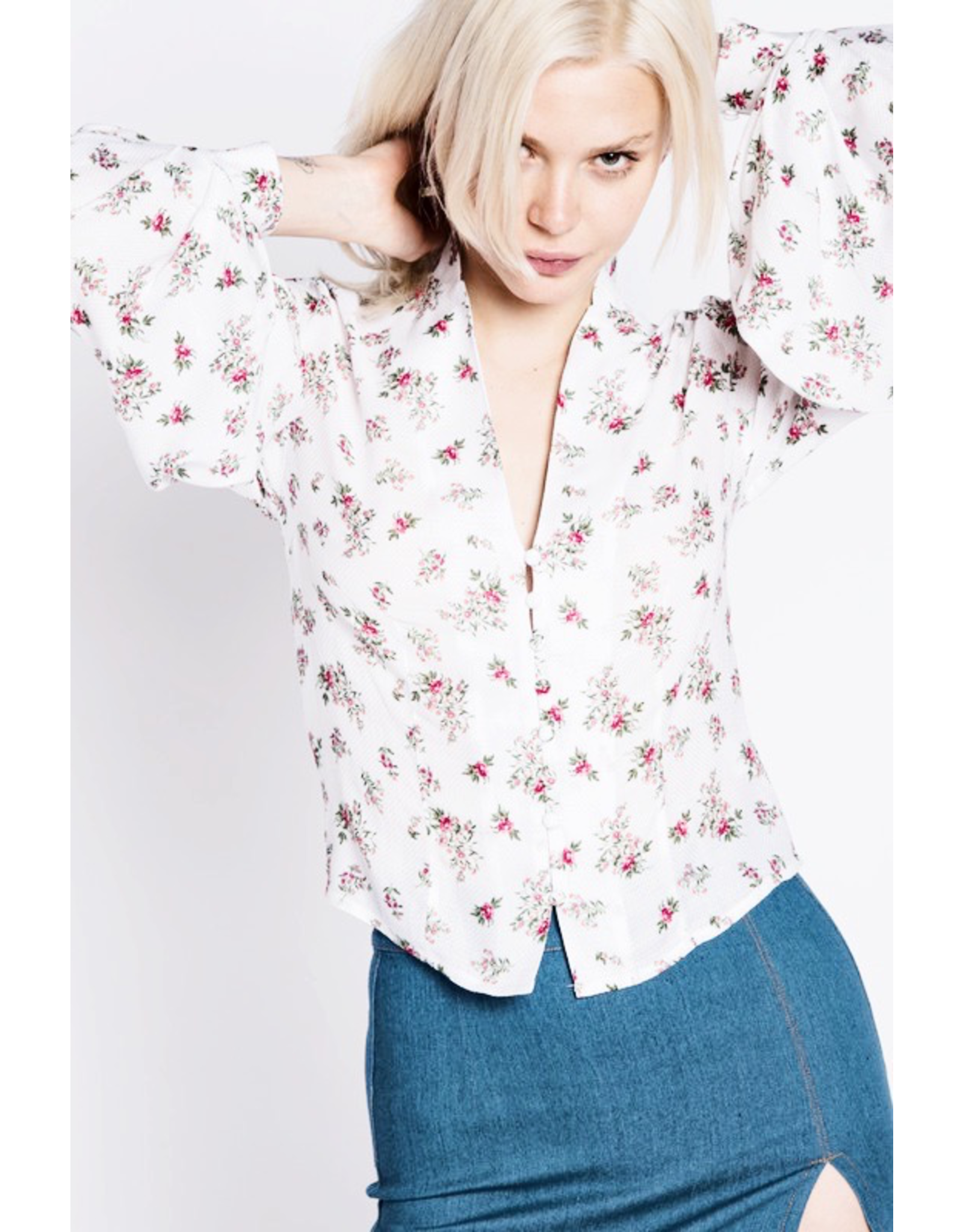 flight lux white pink floral longsleeve top