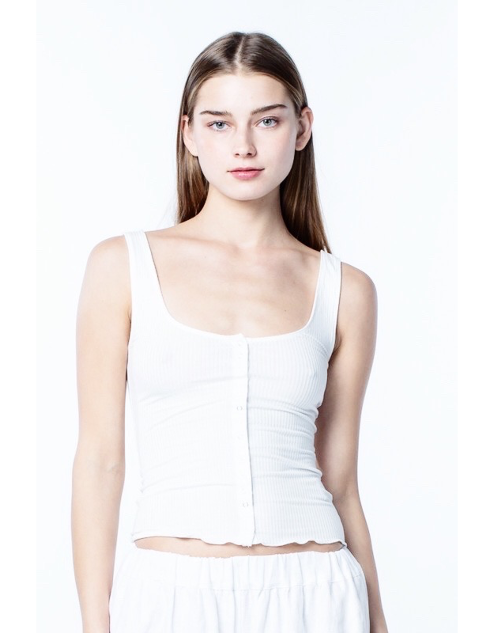 flight lux henley snap front ribbed tank